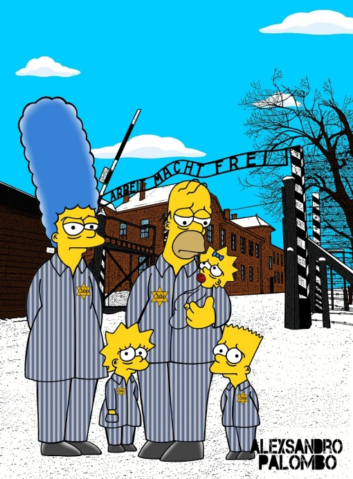 anne-frank-simpsonized-the-simpsons-auschwitz-birkenau-70th-anniversary-antisemitism-holocaust-shoah-nazism-racism-israel-jewish-jews-homer-marge-simspon-lisa-bart-contemporary-art-arti5